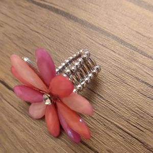 Pink coral flower ring